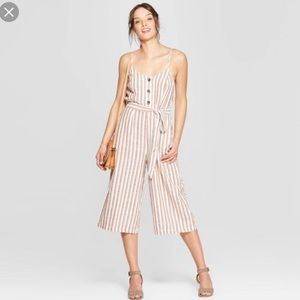 Universal Thread stripe tan and white  jumpsuit